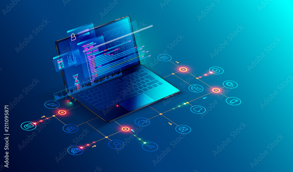 Fototapeta Software, web development, programming concept. Abstract Programming language and program code on screen laptop. Laptop and icons company network . Technology process of Software development