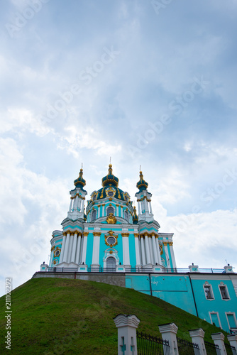 Spoed Foto op Canvas Kiev St. Andrew's Cathedral, Kyiv, Ukraine. St. Andrew's Church