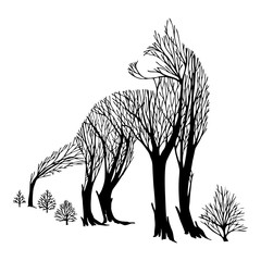 Mysterious aggressive Wolf look back silhouette double exposure blend tree drawing tattoo vector with white isolated background