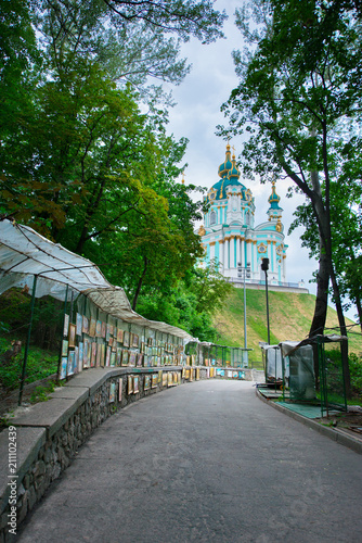 Foto op Plexiglas Kiev St. Andrew's Cathedral, Kyiv, Ukraine. St. Andrew's Church and picture gallery in Kiev