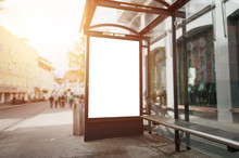 Bus Stop Billboard Mockup. Sun...