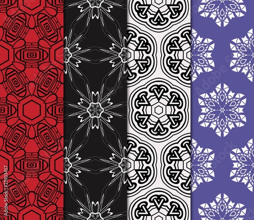 Foto op Canvas Kunstmatig set of decorative ethnic ornament. Seamless vector illustration. Geometric modern style. For greeting cards, invitations, cover book, fabric, scrapbooks.