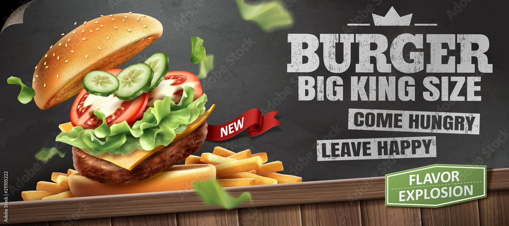 Fototapety, obrazy: Deluxe king size burger ads