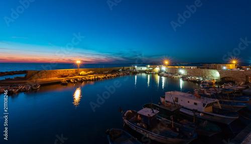 Deurstickers Stad aan het water Evening Gallipoli Castle, Puglia, Italy
