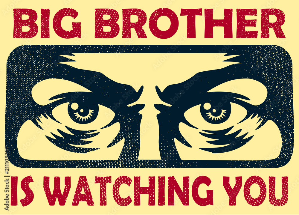 Fototapeta Vintage big brother watching you spying eyes surveillance and personal data privacy violation concept vector illustration