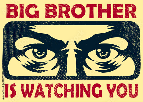Vintage big brother watching you spying eyes surveillance and personal data privacy violation concept vector illustration