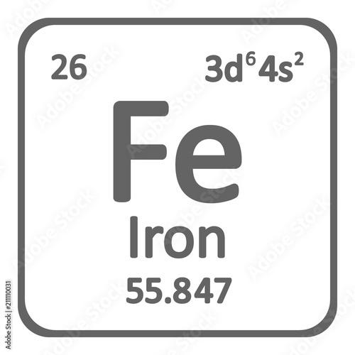 Valokuva Periodic table element iron icon.