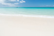 Uninhabited island. Sand pearlescent white claim as fine as powder. Clouds blue sky over calm sea beach tropical island. Tropical paradise beach with sand. Travel experts reveal Antigua best beaches