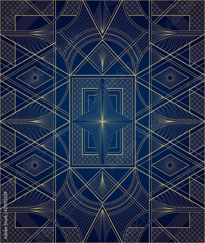 Dark blue and gold art deco pattern