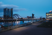 The Clyde River Embankment In The Center Of Glasgow