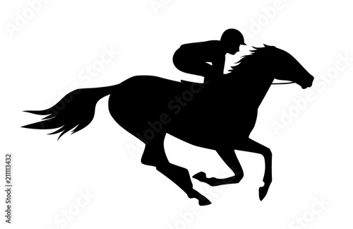 Fotografie, Obraz Vector illustration of  race horse with jockey