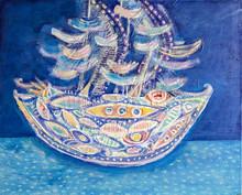 Ship At Sea. Abstract Textured...
