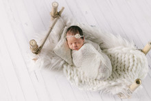 Studio Portrait Of Newborn Baby Girl, Newborn Photography
