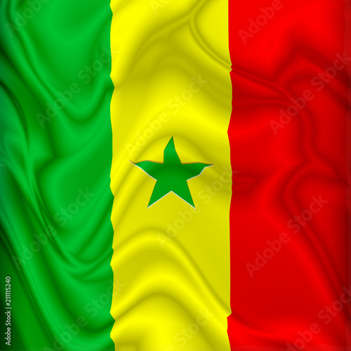 In de dag Draw Senegal Flag Waving Digital Silk Satin Fabric