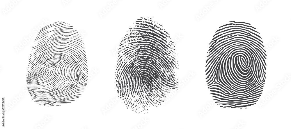 Fototapety, obrazy: Finger print vector icons set illustration isolated on white background