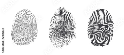 Finger print vector icons set illustration isolated on white background Fototapet