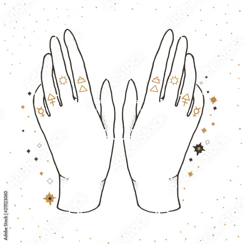 Sketch Graphic Illustration With Mystic And Occult Hand Drawn