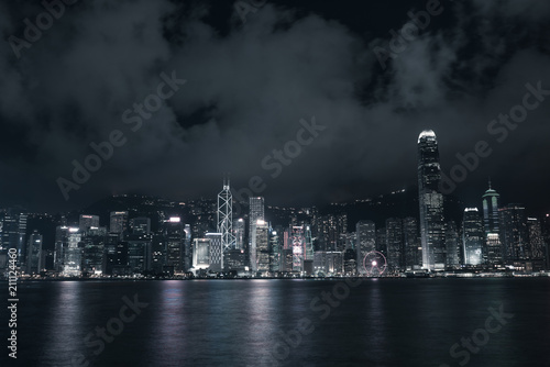Poster New York Buildings in Victoria harbor Hong Kong city at night