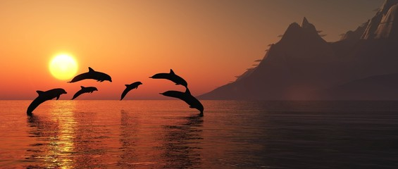 Panel Szklany Delfin Dolphins are jumping at sunset. Sea landscape at sunset. 3D rendering