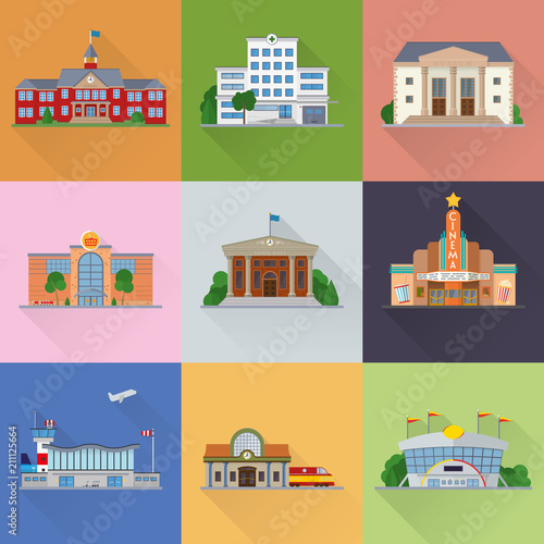 Cuadros en Lienzo Public buildings and facilities flat design vector icons