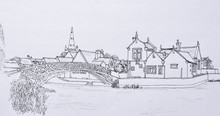 Ink Line Drawing Of The Chinese Bridge At Godmanchester Cambridgeshire England.
