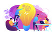 People working in friendly open space workplace. Coworking, freelance, teamwork, communication, interaction, idea, independent activity concept, violet palette. Vector illustration on white background