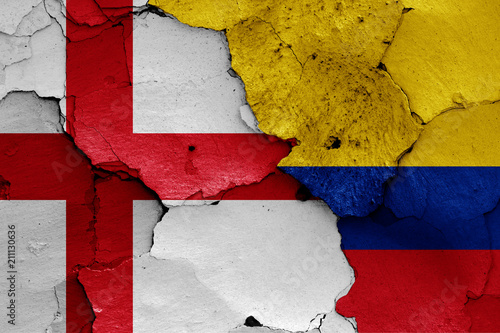Deurstickers Zuid-Amerika land flags of England and Colombia