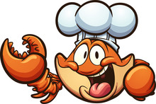 Happy Cartoon Chef Crab. Vecto...