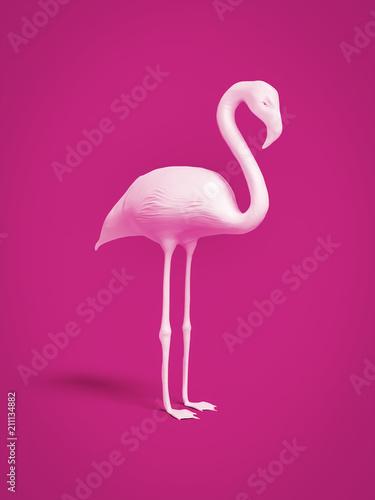 Foto op Aluminium Flamingo white flamingo on pink background