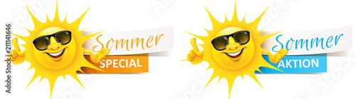 Fotografie, Obraz Cartoon Sonne mit Sonnenbrille und Banner - Sommer Aktion, Special Set