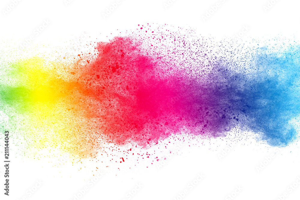 Fototapety, obrazy: Abstract multi color powder explosion on white background.  Freeze motion of  dust  particles splashing. Painted Holi in festival.