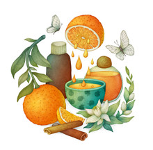 Orange Essential Oil. Illustration With Flowers, Fruits And Bottles.