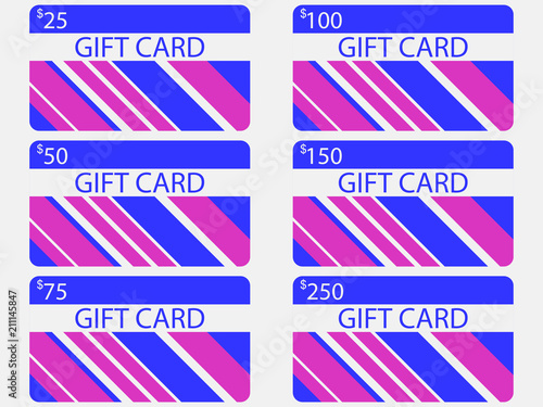 Fotografia  Gift card modern design with stripes