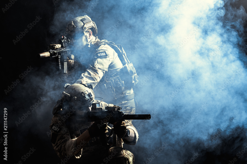 Fototapety, obrazy: Group of security forces in Combat Uniforms with rifles