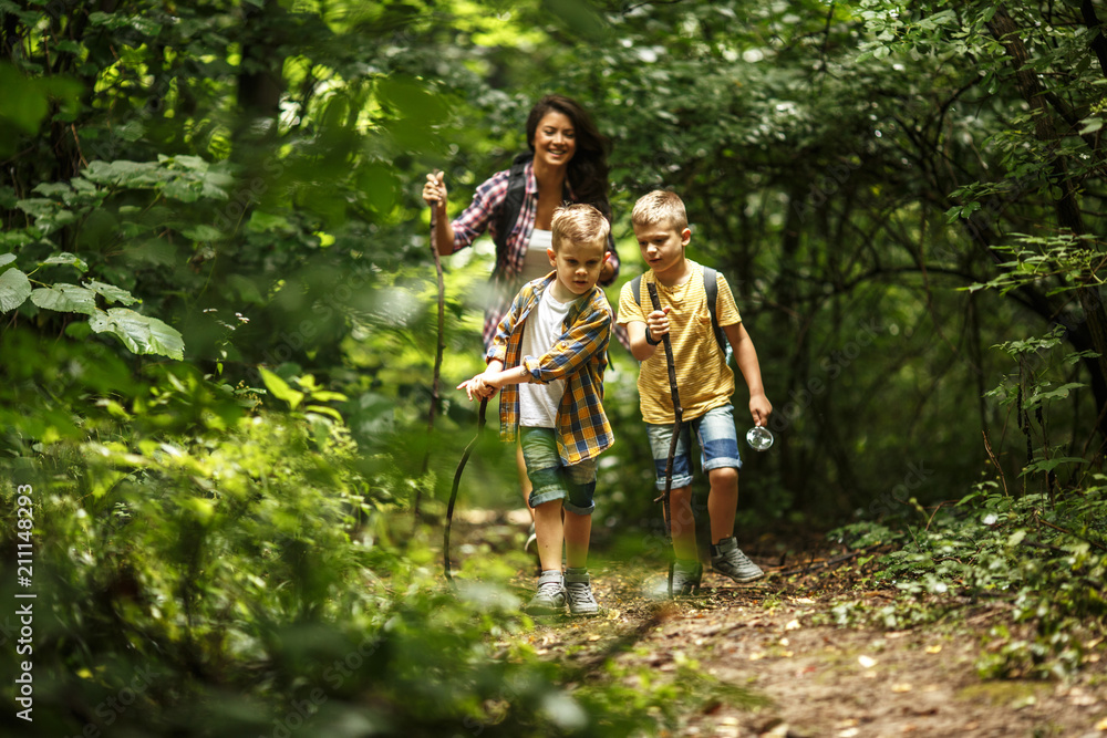 Fototapety, obrazy: Mother and her little sons  hiking trough forest .