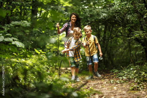 Mother and her little sons  hiking trough forest . Tableau sur Toile
