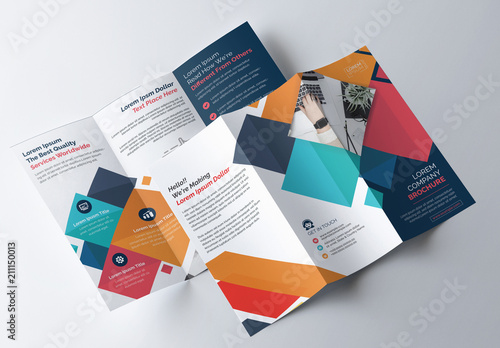 colorful geometric tri fold brochure layout buy this stock template