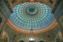 Chicago, Illinois, USA - June 22, 2018 - View Of The Interior And Of The Dome At The Chicago Cultural Center.