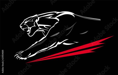 Fototapeta premium muskularna pantera, rycząca i pełzająca w ciemności. Biała grafika liniowa na czarnym tle. ładowanie pantery o lekkim kształcie.