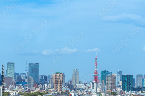 Poster Stad gebouw 東京 首都 高層ビル群 panoramic view of the capital Tokyo