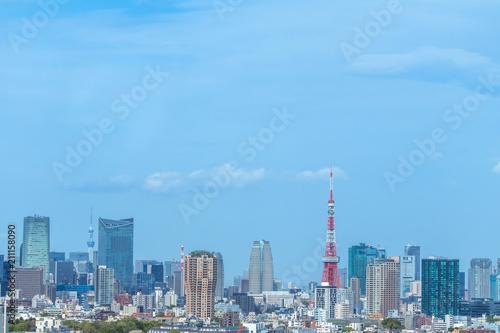 Tuinposter Stad gebouw 東京 首都 高層ビル群 panoramic view of the capital Tokyo