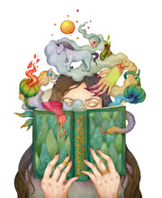 Woman Reading A Fairy Book