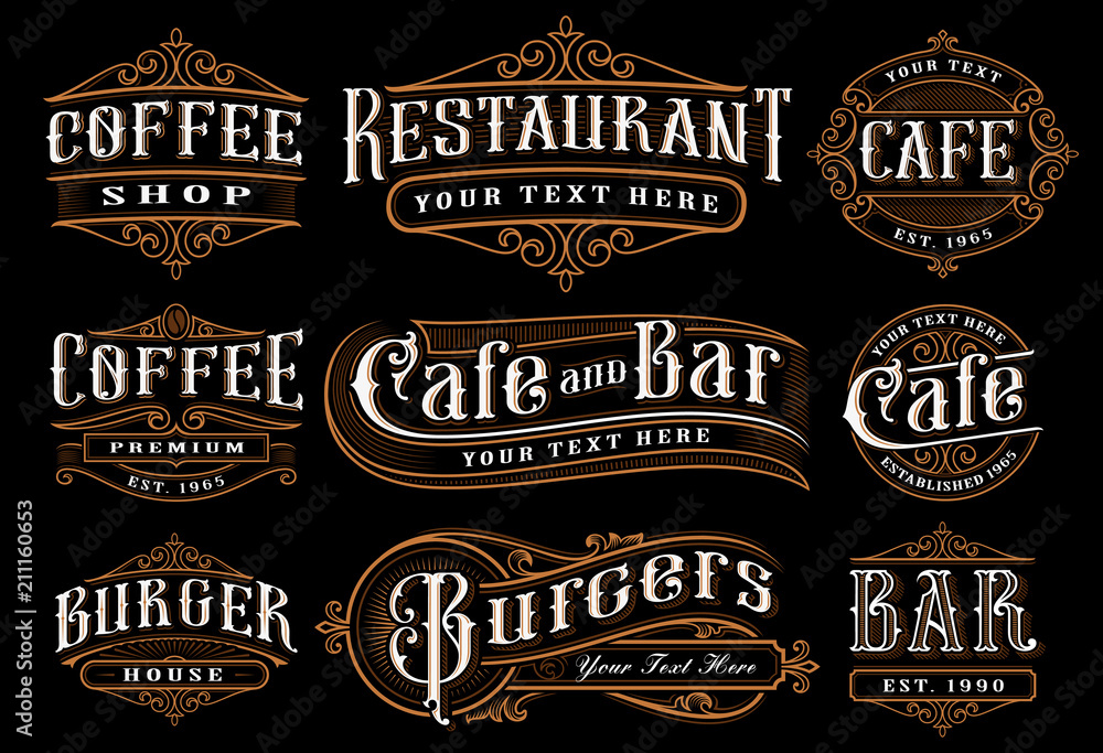 Fototapety, obrazy: Set of vintage lettering illustration for the catering.