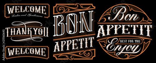 Fotografía  Set of vintage lettering designs for the catering.