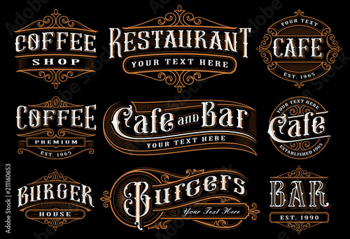 Set of vintage lettering illustration for the catering. - fototapety na wymiar