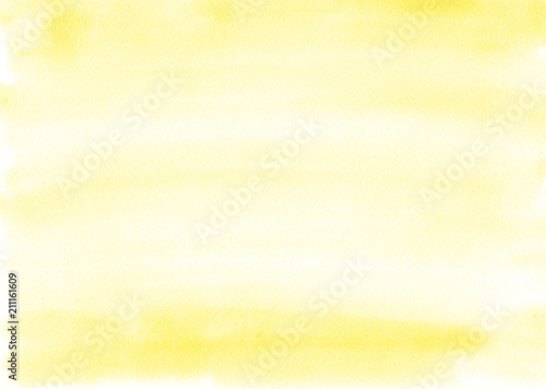 Fotografie, Obraz  Yellow watercolor background is almost uniform, with beautiful stripes from the brush