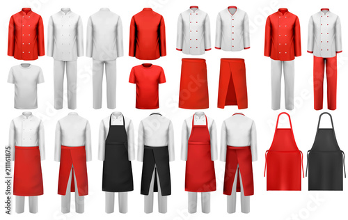Big collection of culinary clothing, white and red suits and aprons Fototapet
