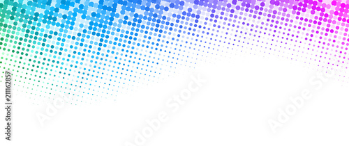 White background with colorful dotted halftone pattern.
