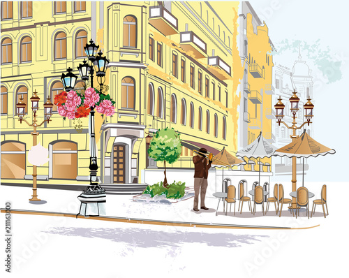 Foto auf AluDibond Gezeichnet Straßenkaffee Series of colorful street views in the old city. Hand drawn vector architectural background with historic buildings.