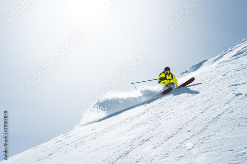 The total length of skiing on fresh snow powder Fototapet